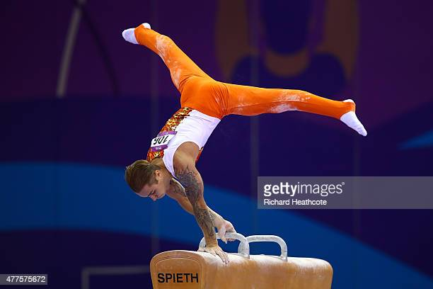 Oleg Stepko of Azerbaijan competes on the Pommel Horse in the Artistic Gymnastics Men's Individual All Round Final during day six of the Baku 2015...