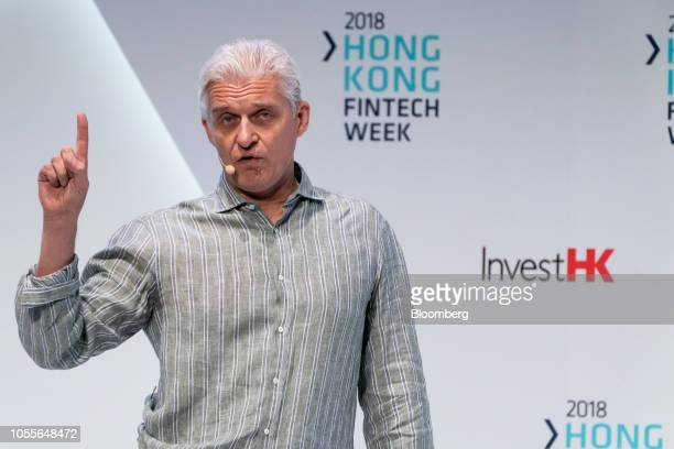 Oleg Tinkoff chairman of Tinkoff Bank Jsc speaks at a conference during the Hong Kong Fintech Week event in Hong Kong China on Wednesday Oct 31 2018...