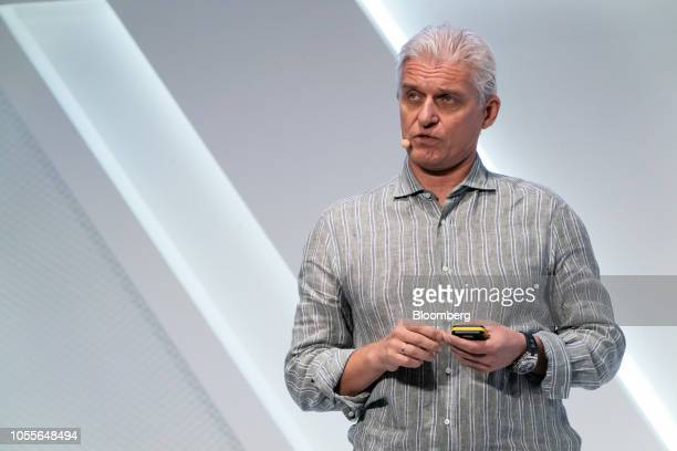 Oleg Tinkoff, chairman of Tinkoff Bank Jsc., speaks at a conference during the Hong Kong Fintech Week event in Hong Kong, China, on Wednesday, Oct....
