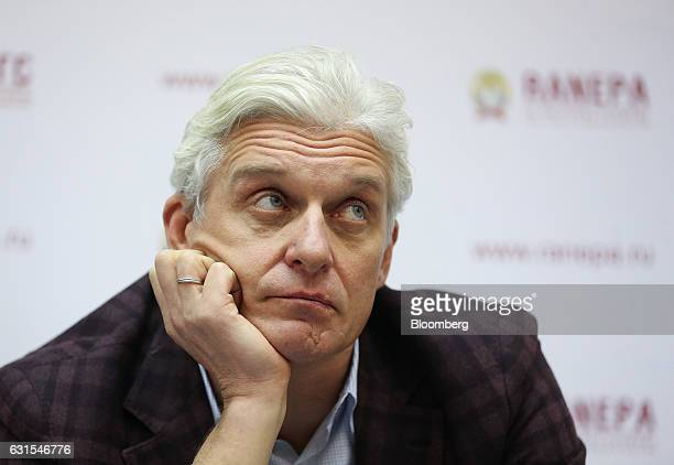 Oleg Tinkoff, founder of TCS Group Holding Plc, looks on during a panel session at the Gaidar Forum in Moscow, Russia, on Thursday, Jan. 12, 2017....