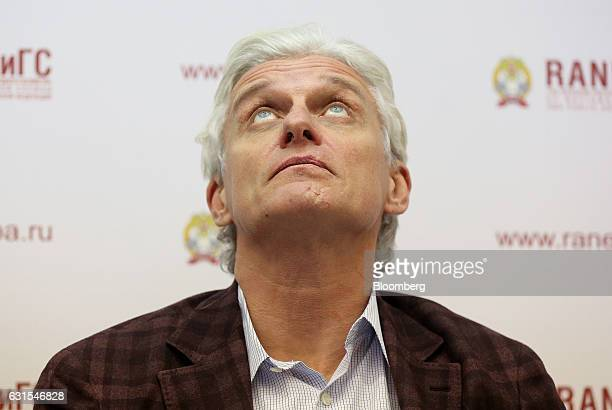 Oleg Tinkoff, founder of TCS Group Holding Plc, looks up during a panel session at the Gaidar Forum in Moscow, Russia, on Thursday, Jan. 12, 2017....