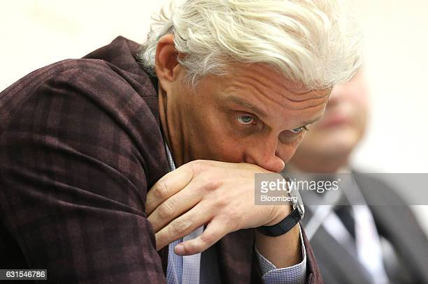 Oleg Tinkoff, founder of TCS Group Holding Plc, pauses during a panel session at the Gaidar Forum in Moscow, Russia, on Thursday, Jan. 12, 2017. Less...