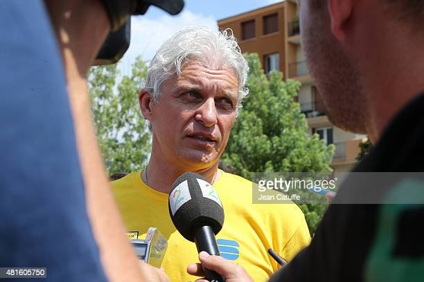 Oleg Tinkov, owner of Team Tinkoff-Saxo answers to the media during the second rest day of the 2015 Tour de France on July 21, 2015 in Gap, France.