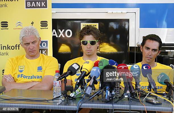 Oleg Tinkov, owner of Team Tinkoff-Saxo, Peter Sagan of Slovakia and Alberto Contador of Spain answer to the media during the second rest day of the...