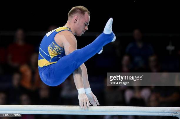 Oleg Verniaiev from Ukraine seen in action during the Apparatus Finals of 8th European Championships in Artistic Gymnastics
