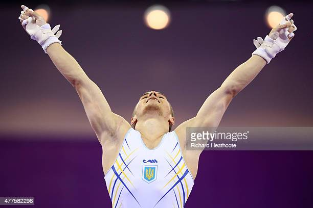 Oleg Verniaiev of Ukraine celebrates after winning the gold medal in the Artistic Gymnastics Men's Individual All Round Final during day six of the...