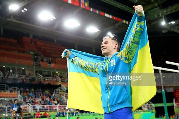 Oleg Verniaiev of Ukraine celebrates winning the gold medal in the Parallel Bars Final on Day 11 of the Rio 2016 Olympic Games at the Rio Olympic...