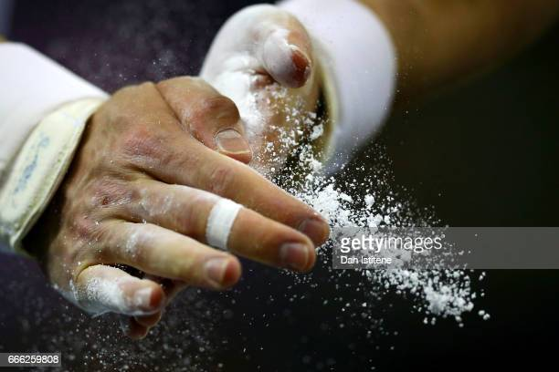 Oleg Verniaiev of Ukraine chalks his hands before competing on the pommel horse during the men's competition for the iPro Sport World Cup of...