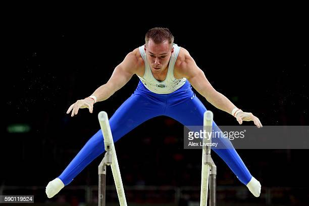 Oleg Verniaiev of Ukraine competes in the Parallel Bars final on Day 11 of the Rio 2016 Olympic Games at the Rio Olympic Arena on August 16 2016 in...
