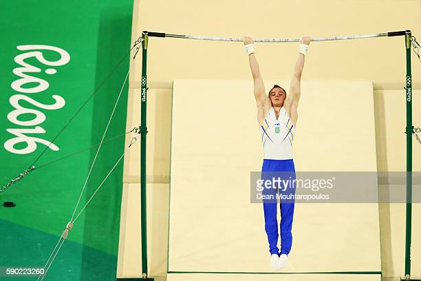Oleg Verniaiev of Ukraine competes on the Horizontal Bar Final on Day 11 of the Rio 2016 Olympic Games at the Rio Olympic Arena on August 16 2016 in...