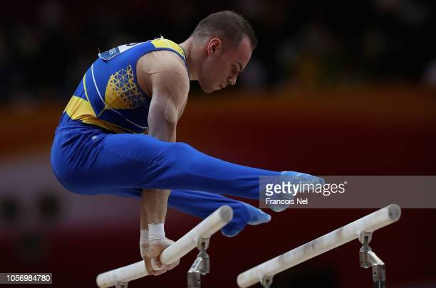 Oleg Verniaiev of Ukraine competes on the Parallel Bars during day ten of the 2018 FIG Artistic Gymnastics Championships at Aspire Dome on November 3...