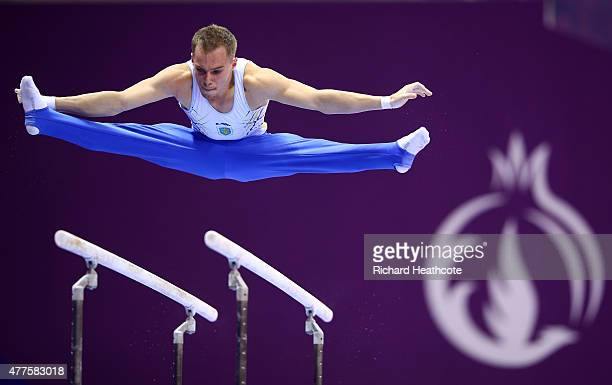 Oleg Verniaiev of Ukraine competes on the Parallel Bars in the Artistic Gymnastics Men's Individual All Round Final during day six of the Baku 2015...