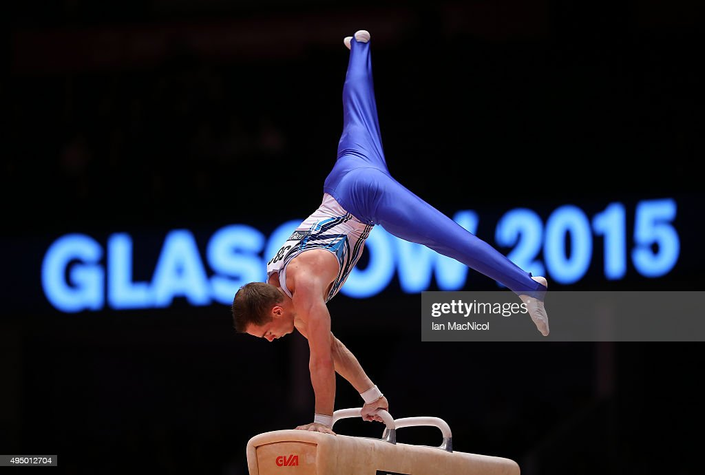 Oleg Verniaiev of Ukraine competes on the pommel during day eight of World Artistic Gymnastics Championships at The SSE Hydro on October 30, 2015 in Glasgow, Scotland.