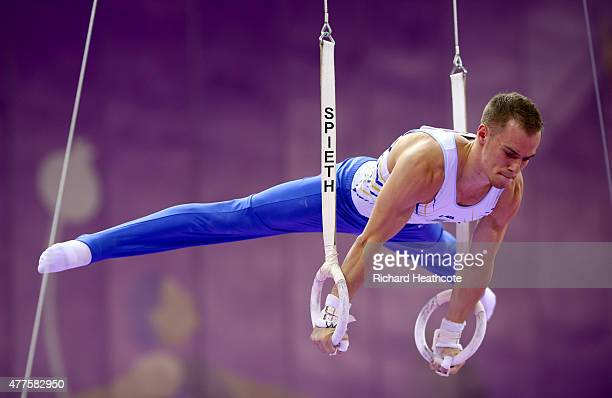 Oleg Verniaiev of Ukraine competes on the rings in the Artistic Gymnastics Men's Individual All Round Final during day six of the Baku 2015 European...