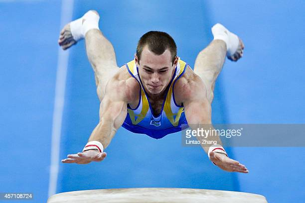 Oleg Verniaiev of Ukraine performs on the vault during the Men's Vault Final on day six of the 45th Artistic Gymnastics World Championships at...