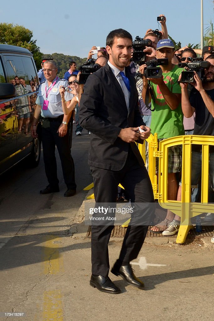 Oleguer Presas arrives to the wedding of Xavi Hernandez and Nuria Cunillera at the Marimurtra Botanical Gardens on July 13, 2013 in Barcelona, Spain.