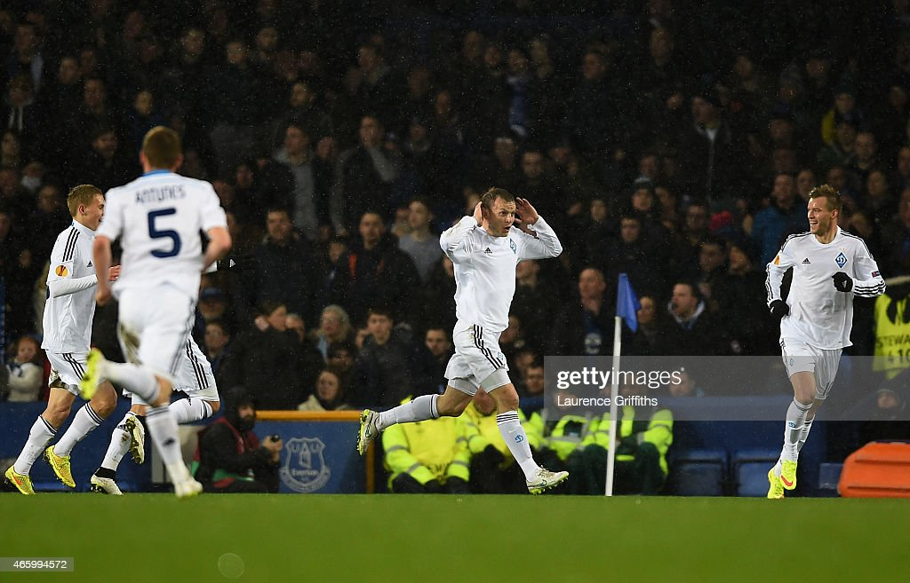 Oleh Husyev (C) of Dynamo Kyiv clebrates after scoring the opening goal during the UEFA Europa League Round of 16, first leg match between Everton and FC Dynamo Kyiv at Goodison Park on March 12, 2015 in Liverpool, United Kingdom.