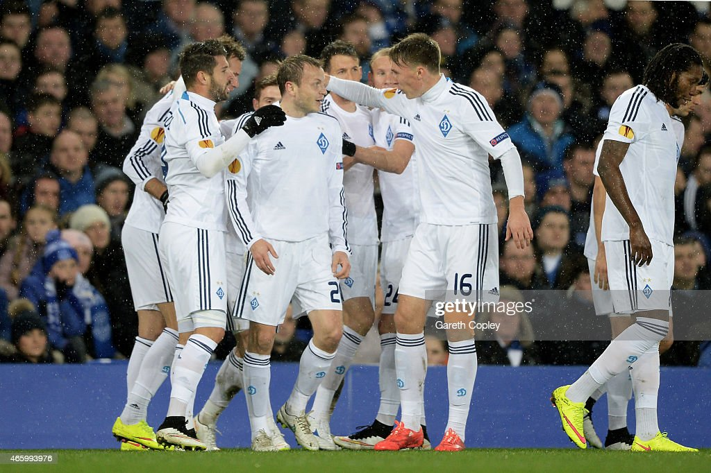 Oleh Husyev #20 (C) of Dynamo Kyiv is congratulated by teammates after scxoring the opening goal during the UEFA Europa League Round of 16, first leg match between Everton and FC Dynamo Kyiv at Goodison Park on March 12, 2015 in Liverpool, United Kingdom.