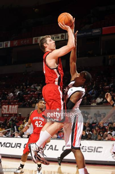 Olek Czyz takes a jump shot during the Under Armour Capital Classic at the Comcast Center on April 13 2008 in College Park Maryland
