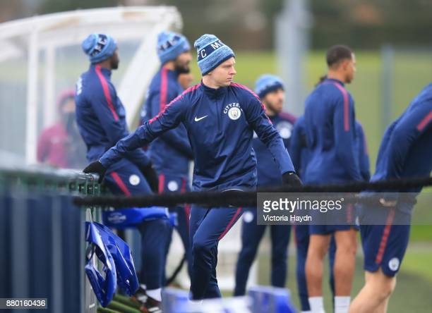 Oleksandar Zinchenko in action during training at Manchester City Football Academy on November 27 2017 in Manchester England