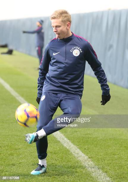 Oleksandar Zinchenko in action during training at Manchester City Football Academy on November 28 2017 in Manchester England