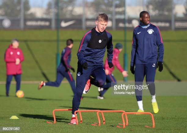 Oleksandar Zinchenko in action during training at Manchester City Football Academy on December 11 2017 in Manchester England