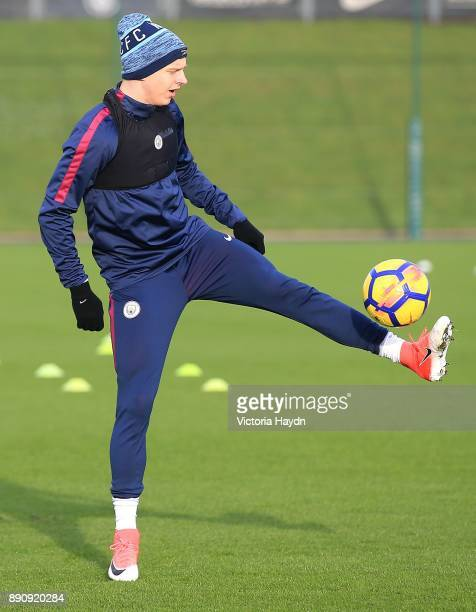 Oleksandar Zinchenko in action during training at Manchester City Football Academy on December 12 2017 in Manchester England