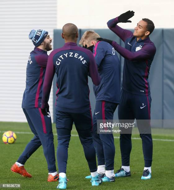 Oleksandar Zinchenko reacts during training at Manchester City Football Academy on November 24 2017 in Manchester England