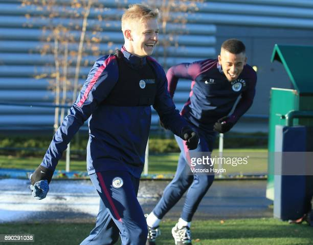 Oleksandar Zinchenko reacts during training at Manchester City Football Academy on December 11 2017 in Manchester England