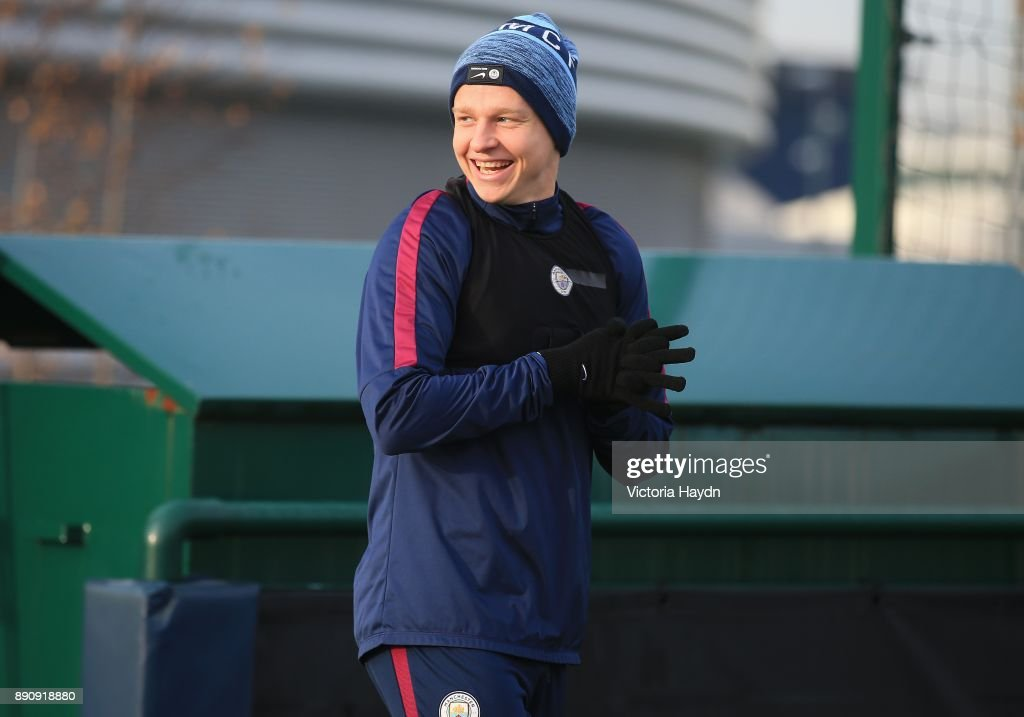 Oleksandar Zinchenko reacts during training at Manchester City Football Academy on December 12, 2017 in Manchester, England.
