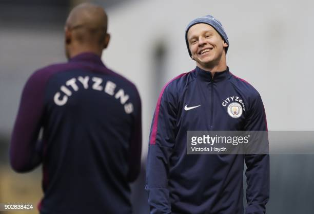 Oleksandar Zinchenko reacts during training at Manchester City Football Academy on January 8 2018 in Manchester England
