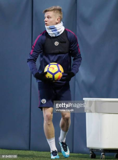 Oleksander Zinchenko in action during training at Manchester City Football Academy on February 2 2018 in Manchester England