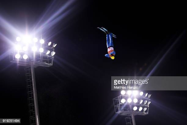 Oleksandr Abramenko of the Ukraine competes during the Freestyle Skiing Men's Aerials Qualification on day eight of the PyeongChang 2018 Winter...