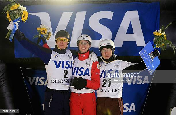 Oleksandr Abramenko of Ukraine in second place Petr Medulich of Russia in first place and Naoya Tabara of Japan in third place celebrate on the...