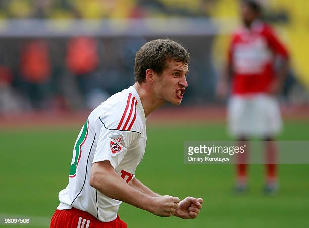 Oleksandr Aliyev of FC Lokomotiv Mosco celebrates after scoring a goal during the Russian Football League Championship match between FC Spartak...