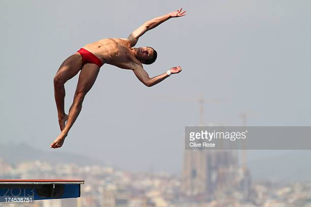 Oleksandr Bondar of Ukraine competes in the Men's 10m Platform Diving Semifinal round on day eight of the 15th FINA World Championships at Piscina...