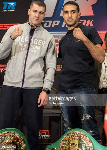 Oleksandr Gvozdyk and Medhi Amar pose for thier upcoming Light heavyweight fight during the final press conference at Madison Square Garden on March...