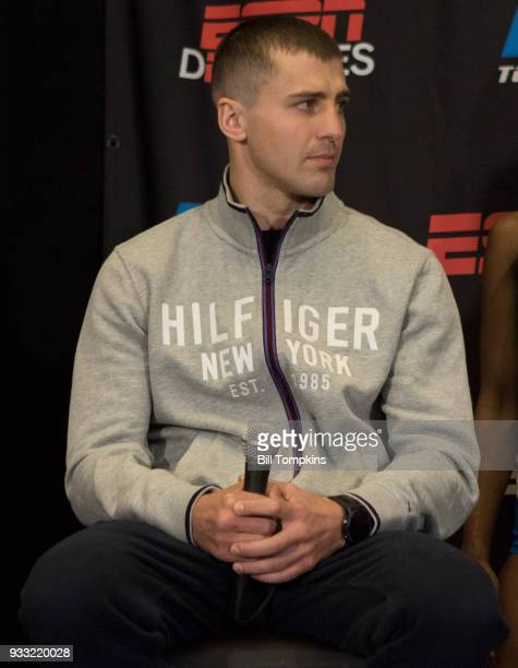 Oleksandr Gvozdyk attends the final press conference for his Light heavyweight fight against Mehdi Amar at Madison Square Garden on March 15 2018 in...