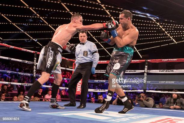 Oleksandr Gvozdyk defeats Medhi Amar in their Light heavyweight Title fight at The Hulu Theatre at Madison Square Garden on March 17 2018 in New York...
