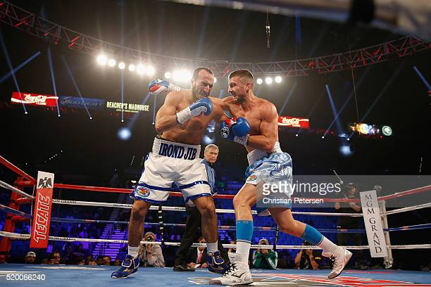 Oleksandr Gvozdyk throws a right at Nadjib Mohammed during their light heavyweight fight on April 9 2016 at MGM Grand Garden Arena in Las Vegas Nevada