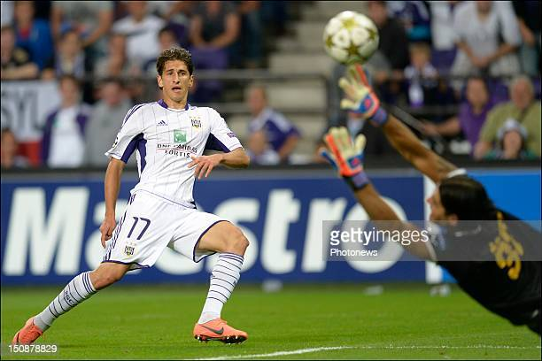 Oleksandr Iakovenko of RSC Anderlecht scores during the third qualifying round of the UEFA Champions League return match between RSC Anderlecht and...
