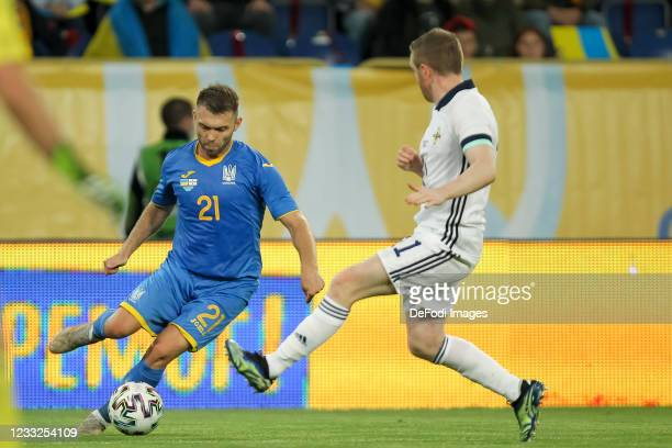 Oleksandr Karavaev of Ukraine controls the ball during the international friendly match between Ukraine and Northern Ireland at Dnipro-Arena on June...