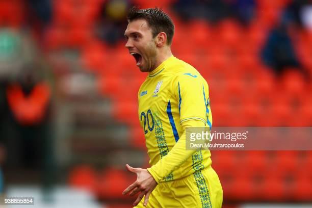 Oleksandr Karavayev of Ukraine celebrates scoring his teams second goal of the game during the International friendly match between Japan and Ukraine...