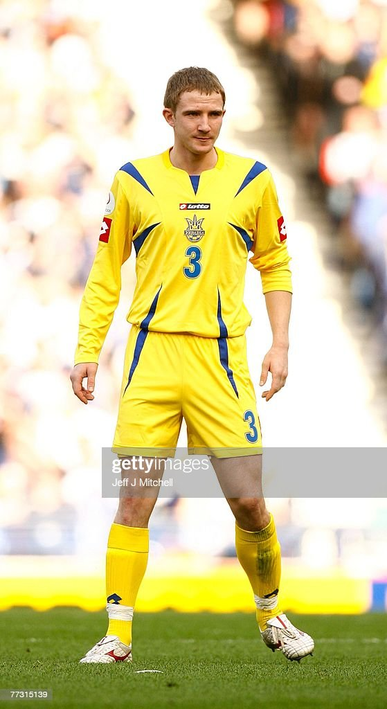 Oleksandr Kucher of the Ukraine in action during the Euro 2008 Group B qualifying match between Scotland and Ukraine at Hampden Park on October 13, 2007 in Glasgow, Scotland