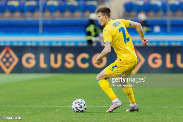 Oleksandr Syrota of Ukraine controls the ball during the international friendly match between Ukraine and Cyprus at Metalist Stadium on June 7, 2021...