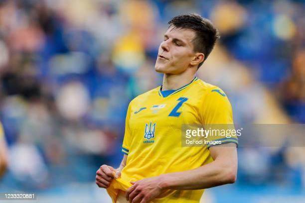 Oleksandr Syrota of Ukraine looks on during the international friendly match between Ukraine and Cyprus at Metalist Stadium on June 7, 2021 in...