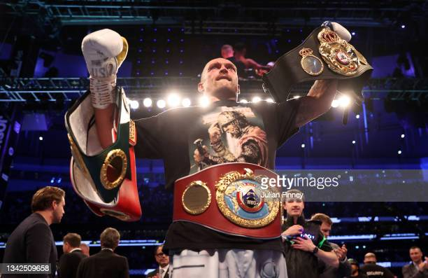 Oleksandr Usyk celebrates after being crowned the new World Champion following the Heavyweight Title Fight between Anthony Joshua and Oleksandr Usyk...