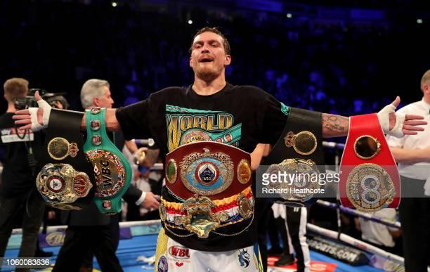 Oleksandr Usyk of Ukraine celebrates victory over Tony Bellew of England after the WBC, WBA, WBO, IBF & Ring Magazine World Cruiserweight Title Fight...