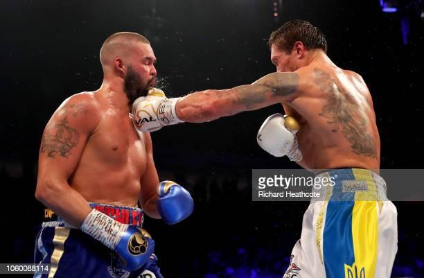 Oleksandr Usyk of Ukraine punches Tony Bellew of England during the WBC, WBA, WBO, IBF & Ring Magazine World Cruiserweight Title Fight between...