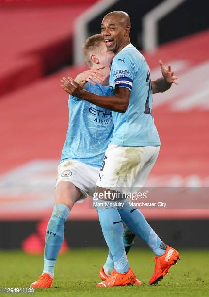 Oleksandr Zinchencko of Manchester City celebrates with Fernandinho of Manchester City after Fernandinho scores his sides 2nd goal during the Carabao...